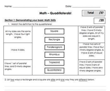 Quadrilaterals - 2d 2-D Shapes Unit Plan!