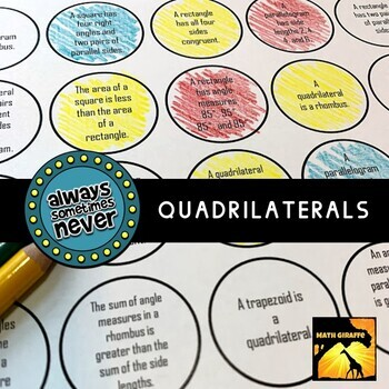Quadrilaterals: Always, Sometimes, or Never