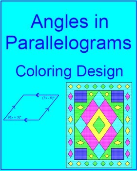 Quadrilaterals - Angles in Parallelograms Coloring Design