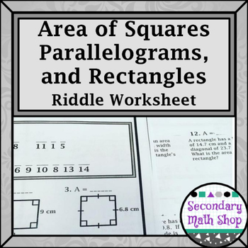 Quadrilaterals Area Of Parallelograms Rectangles And Squares