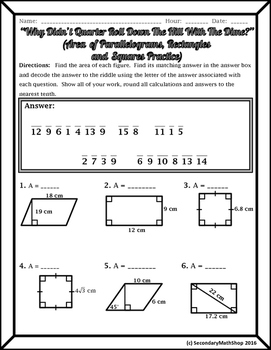 Quadrilaterals -  Area of Parallelograms, Rectangles and Squares Riddle WKSHT