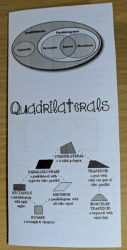Quadrilaterals Brochure Notes SOL(2016) 7.6