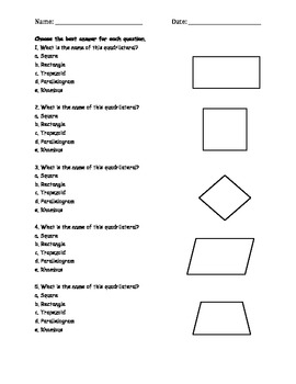 Quadrilaterals Classwork (Common Core Aligned)