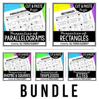 Quadrilaterals Cut and Paste Puzzle BUNDLE