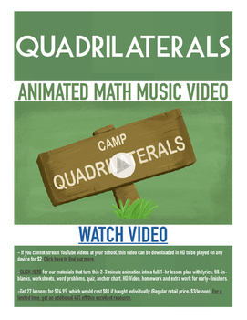 Quadrilaterals | FREE Poster, Worksheet & Fun Video | 4th-5th Grade Activity