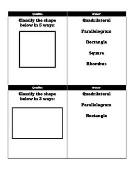 Quadrilaterals Flash Cards