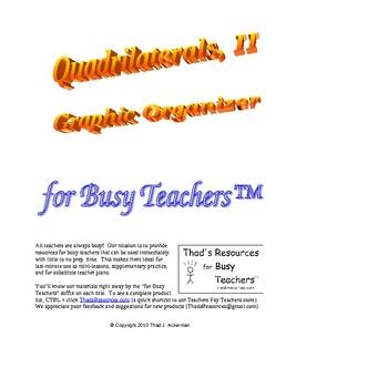 Quadrilaterals II - Graphic Organizer for Busy Teachers