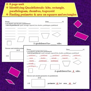 Quadrilaterals Identifying with Perimeter and Area
