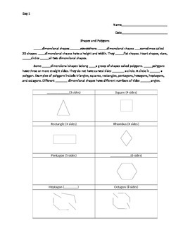 Quadrilaterals Information Gap Activity Packet A