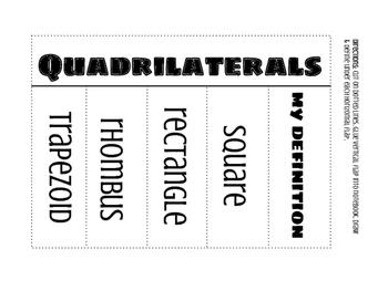 Quadrilaterals Interactive Math Notebook Foldable {freebie}