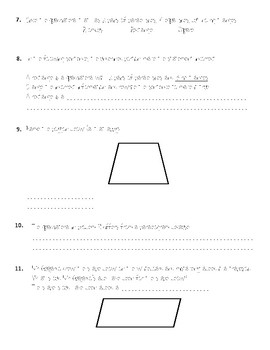Quadrilaterals Interactive Notebook Insert and Knowledge Check