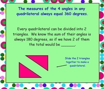 Quadrilaterals Intro and Find Missing Angles Smartboard and Practice Worksheet