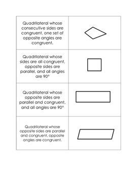 Quadrilaterals- Matching Game