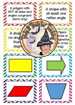 Quadrilaterals Memory Game Shape Definition Card Match Activity Geometry Game