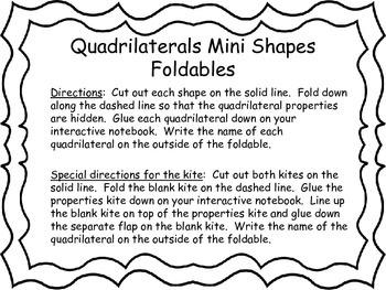 Quadrilaterals Mini Shapes Foldables
