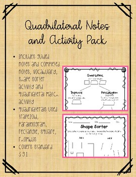Quadrilaterals Notes and Activities Pack