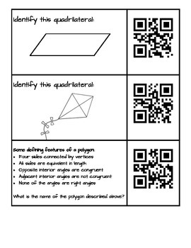 Quadrilaterals Practice with QR Codes