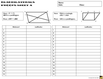 Quadrilaterals Proofs - Two Column Proof Practice and Quiz