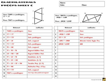 Quadrilaterals Proofs - Two Column Proof Practice and Quiz by Math ...