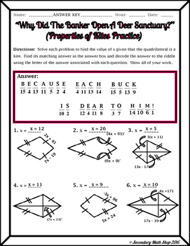 Quadrilaterals -  Properties of Kites Riddle Worksheet