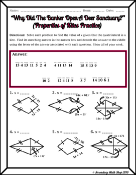 Quadrilaterals - Properties of Kites Riddle Worksheet by Secondary ...