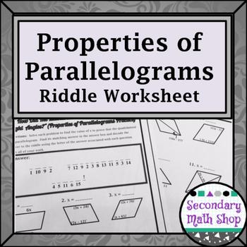 quadrilaterals properties of parallelograms riddle worksheet tpt. Black Bedroom Furniture Sets. Home Design Ideas