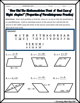 Quadrilaterals - Properties of Parallelograms Riddle Worksheet