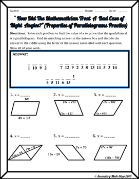 Quadrilaterals - Properties of Parallelograms Riddle Worksheet | TpT