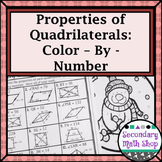 Quadrilaterals - Properties of Quadrilaterals Color-By-Number Wintery Worksheet