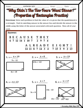 quadrilaterals properties of rectangles riddle worksheet tpt. Black Bedroom Furniture Sets. Home Design Ideas