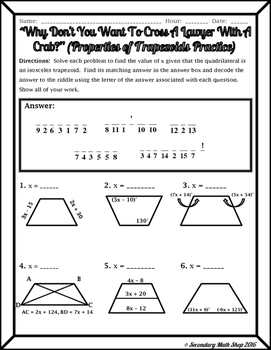 quadrilaterals properties of trapezoids riddle worksheet tpt. Black Bedroom Furniture Sets. Home Design Ideas