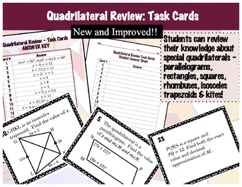 Quadrilaterals Review - Task Cards - 36 of them!