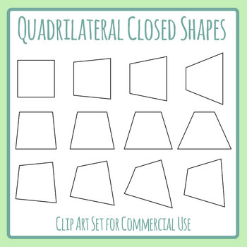 Quadrilaterals Shapes / Outlines Clip Art Set for Commercial Use