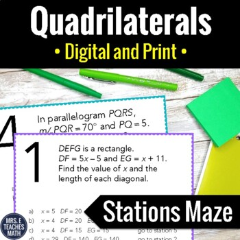 Quadrilaterals Stations Maze Activity