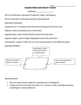 Quadrilaterals Study Guide and Practice Questions
