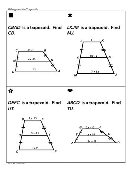 Quadrilaterals Sum Em Activity | Parallelograms, Trapezoids, Kites