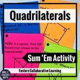 Quadrilaterals Sum Em Activity | Parallelograms, Trapezoid