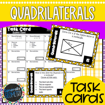 Quadrilaterals Task Cards; Geometry