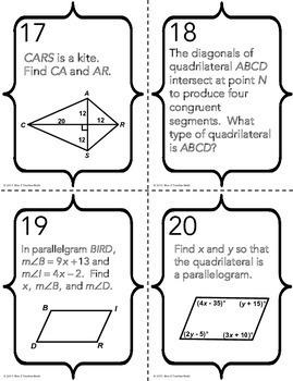 Quadrilaterals Task Cards