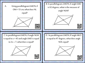Quadrilaterals Task Cards with QR Codes and Student Answer Sheets