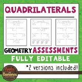 Quadrilaterals Tests - Geometry Editable Assessments