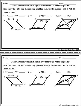 Quadrilaterals - The Family of Quadrilaterals Mini - Quizzes