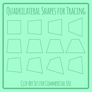 Quadrilaterals Tracing Shapes Clip Art Set for Commercial Use