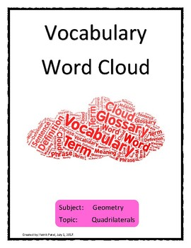 Quadrilaterals Vocabulary Word Cloud Word Bank Handout Geometry