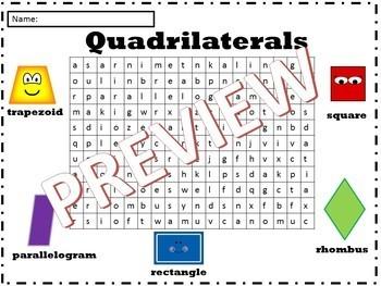 Quadrilaterals WordSearch