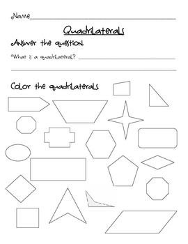 Identifying Quadrilaterals Worksheet | Teachers Pay Teachers