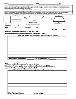 Quadrilaterals and Geometry Problem Solving Free Sample Perimeter and Area