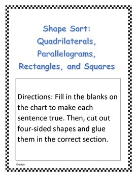 Quadrilaterals and Parallelograms Sort