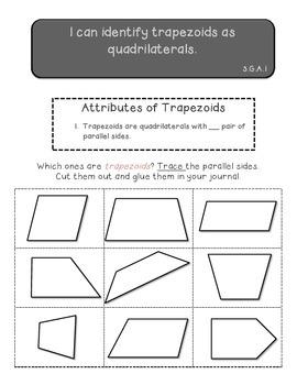 Quadrilaterals cut and paste activities plus quiz