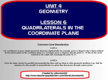 Quadrilaterals in the Coordinate Plane (Math 1)